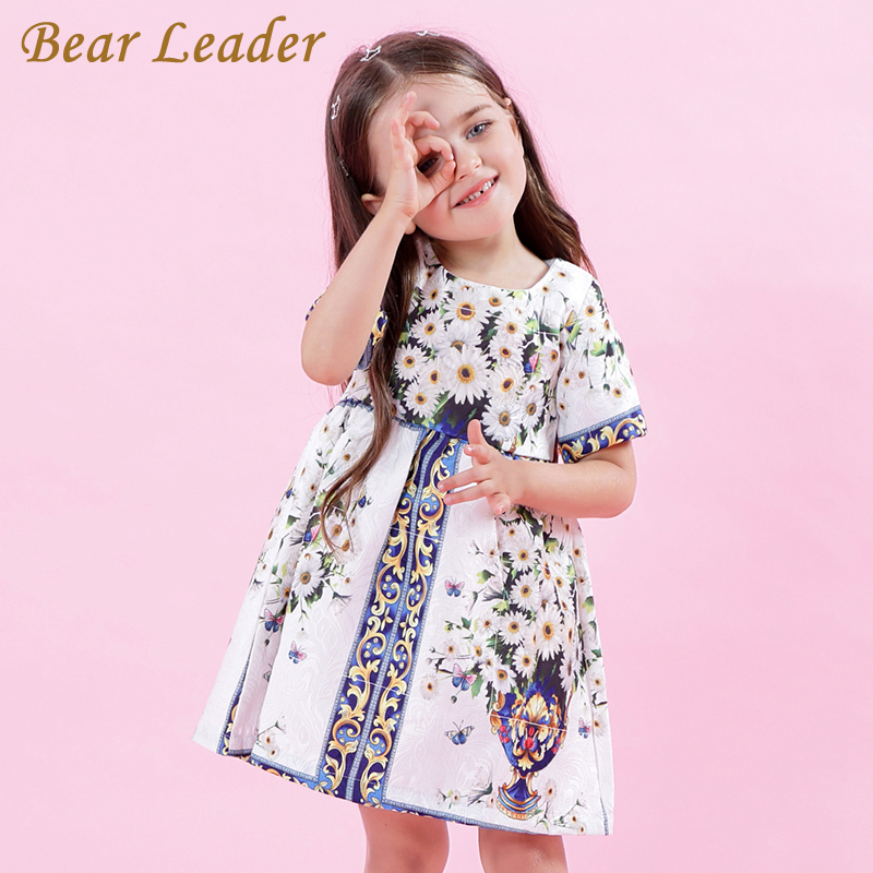 Bear Leader Girls Dress 2018 New Spring European and American Style Princess Dresses Flowers Printing Children Clothing For 3-8Y bear leader 2016 spring