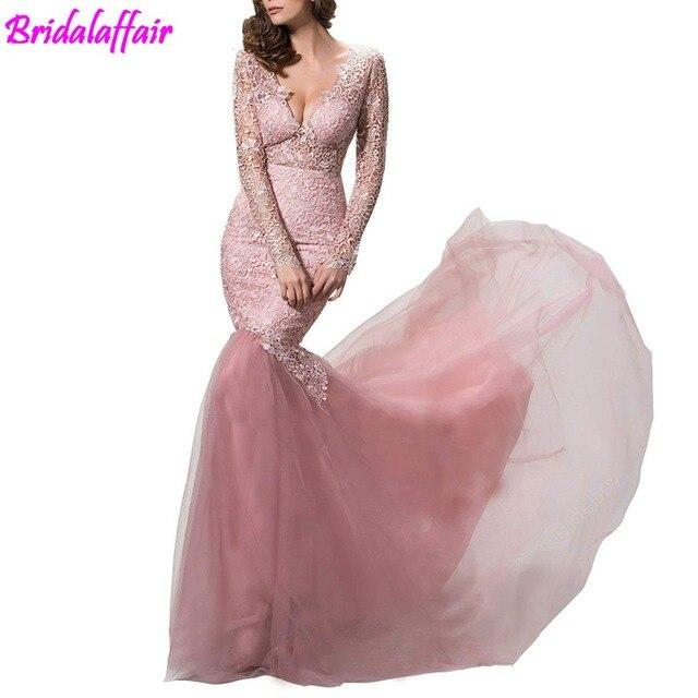45c12a8e9d68b US $180.25  lace prom dress long sleeve party gown mermaid evening dress  robe soiree formal dress baby pink long dress vestido de fiesta-in Prom ...