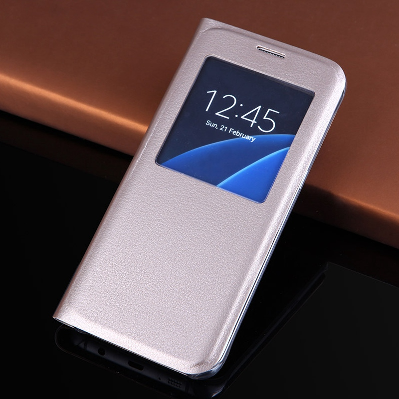 QTNED Luxury View Phone Case för Samsung S7 Edge Flip Cover Holster - Reservdelar och tillbehör för mobiltelefoner - Foto 1
