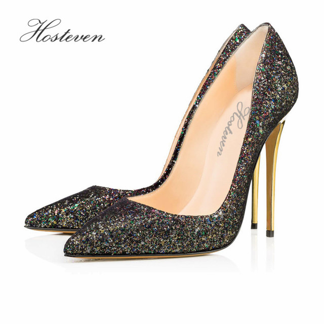 410e50195e1 Hosteven Women s Shoes Black Bling Pumps Spring Fashion Pointed Toe High  Thin Heels Stilettos Slip On