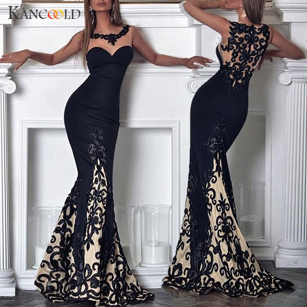 KANCOOLD Dress Women Sexy Lace Sleeveless Slim Summer Dress Trumpet / Mermaid Hollow Maxi Party Empire Dress Women 2019MAY23