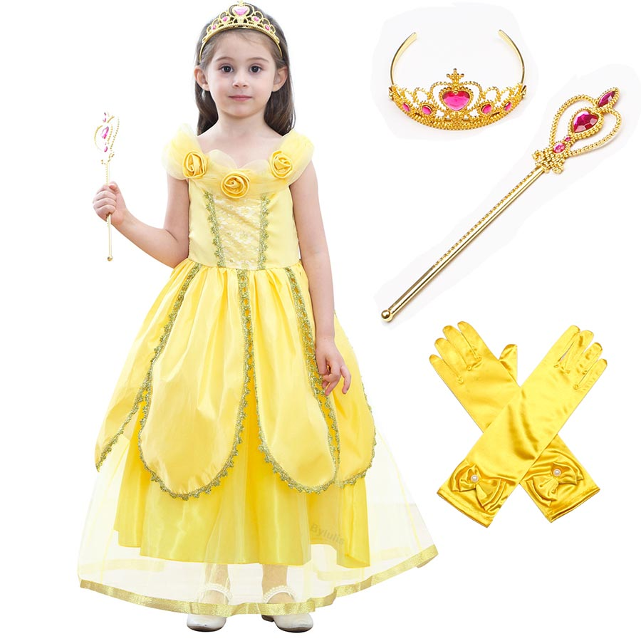 Beauty and The Beast Costume with Crown Wand Princess Belle Costumes Deluxe Party Dresses Fancy Yelllow Belle Dress Up For Girls