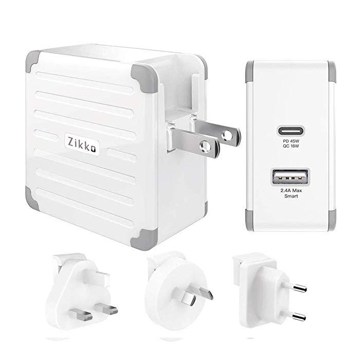 Zikko eLUGGAGE L adaptateur de voyage, PD 45 W QC 3.0 USB C PD chargeur mural adaptateur de voyage prise pour US UK EU AU JP