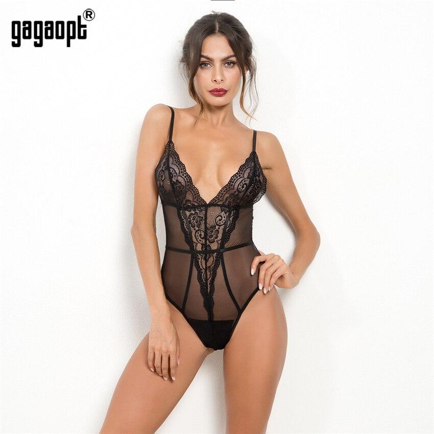 Gagaopt 2018 Lace Bodysuit Women Deep V Neck Perspective Fashion Black Sexy Bodysuit Teddy Sleepwear