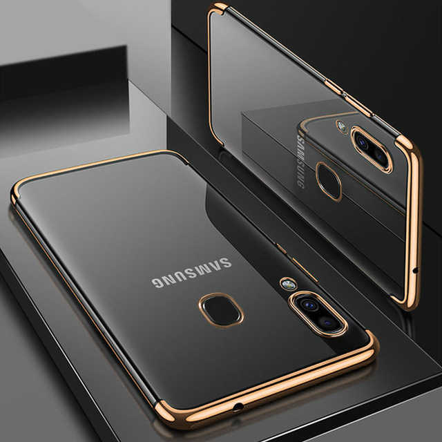 Luxury Soft TPU Case Transparent Thin TPU Case For Samsung Galaxy A40 A10 A20 A20E A30 A50 A70 M20 M10 M30 Plating Shining Case