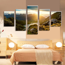 Wall Art Pictures Frame Living Room HD Printed Painting 5 PiecePcs Mountain And River Landscape Home Decoration Posters Modern
