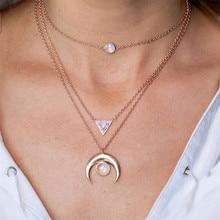 Boho Opal Gemoetric Necklaces for Women Vintage Gold Color Chain Long Moon Statement Necklace Pendant Bohemian Choker Jewelry vintage faux opal floral necklace jewelry for women