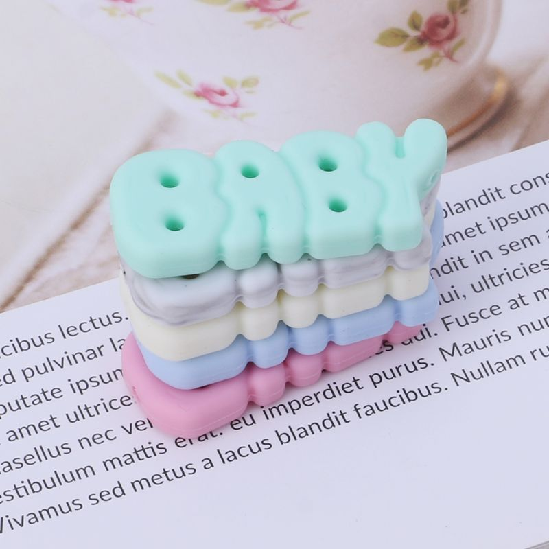 Silicone Beads Baby Teether DIY Jewelry Necklace Pendant Teething Supplies Grind Bead Letters Newborn Oral Care Kids Products in Baby Teethers from Mother Kids