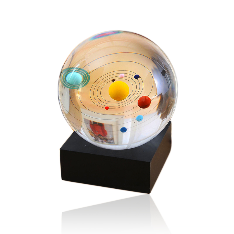 XINTOU 8cm/3 inch Clear Crystal Ball Solar System Crystals Sphere Planet Balls for Astronomer,Gift For Lover of Space Home Decor