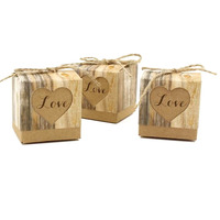 50pcs Wedding Hearts In Love Rustic Kraft Imitation Bark Candy Box with Burlap Chic Vintage Wedding Favor Gift Boxes 5*5*5CM