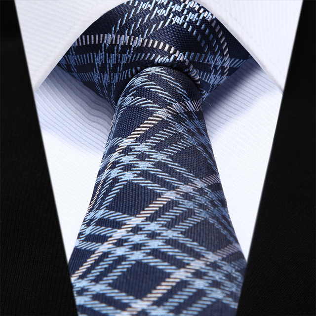 "TZC06B6 Blue Gray Check Slim Narrow 2.6"" 100% Natural Silk Men Tie Necktie"
