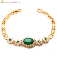 Yunkingdom classic wedding brand jewelry Gorgeous zircon crystal bracelet for women Gold Color Bijouterie 4 colors