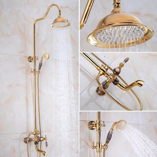 Luxury  Bathroom Rose Gold and Jade Brass Rain Shower Set,  Shower Faucet European style Bath & Shower Faucet Set, Wall Mounted