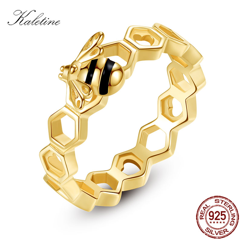 KALETINE Honeybee Heart Sterling 925 Silver Rings Love Multicolor Rose Gold Bee Honeycomb Rings For Women Men Jewelry Luxuy kaletine honey bee 925 sterling silver bracelets colorful heart luxury love honey comb golden bee jewelry for men women bracelet