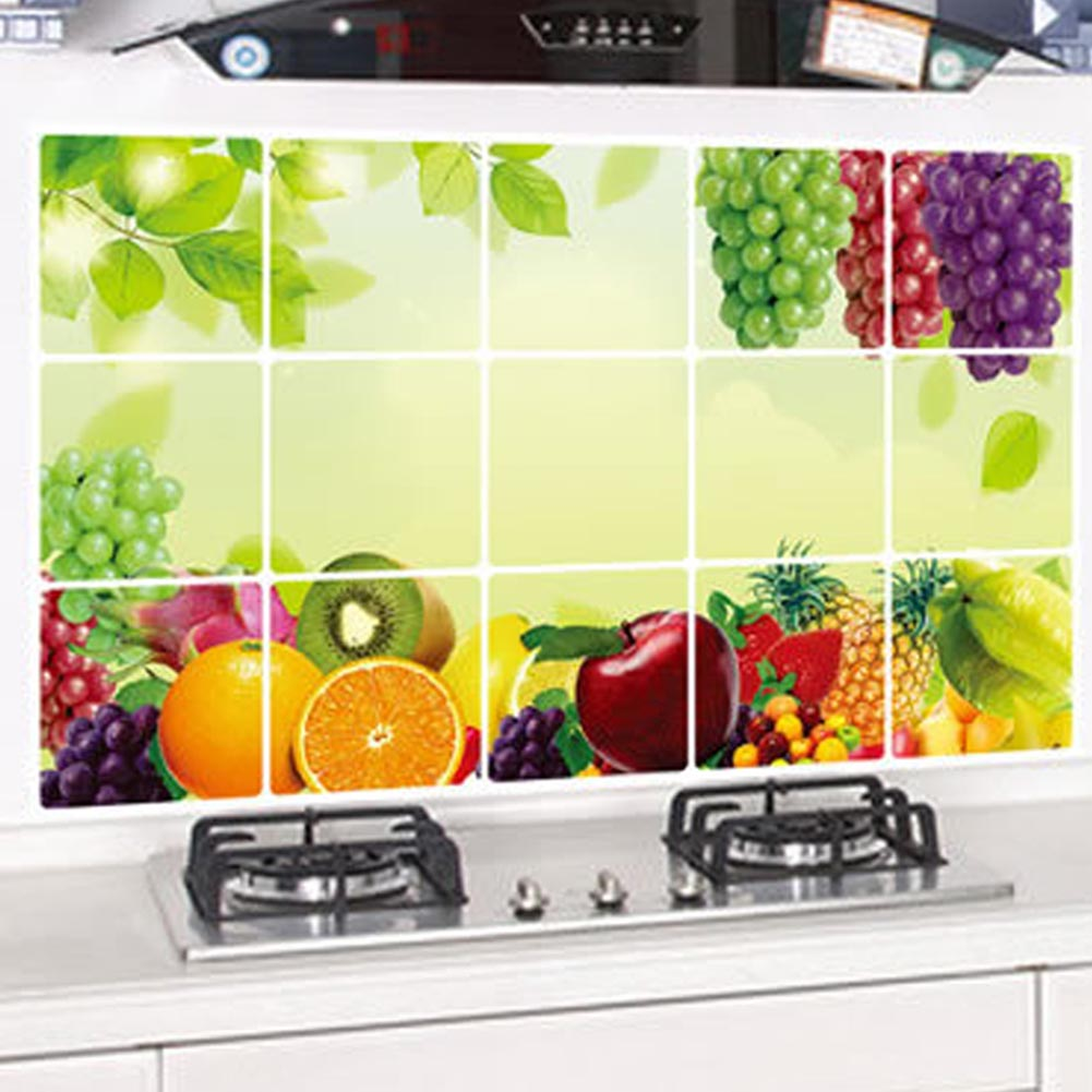 75*45cm Kitchen Oilproof Removable Wall Stickers Aluminum foil Art ...