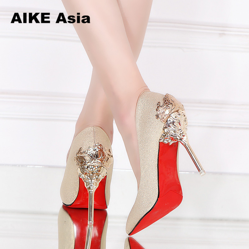 Sexy High Heels Shoes Woman Pumps Red Gold Silver High Heels Shoes Woman Ladies Wedding Party Shoes 2018 Fretwork