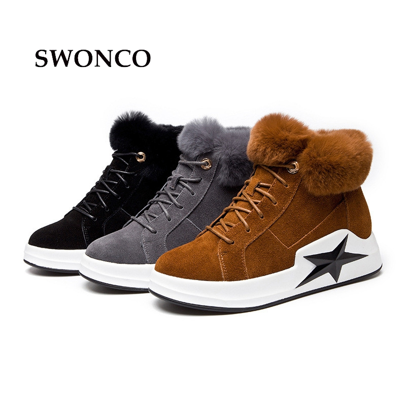 SWONCO Women's Snow Boots Autumn Winter Genuine Leather Fur Warm Winter Boot Black Ankle Boots For Women Winter Shoes Woman Boot