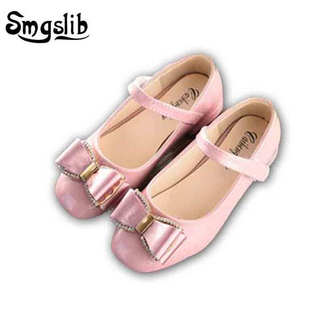 Children Girls shoes Bowtie PU Leather Princess Ballet Flats Shoes for Party  Wedding black red pink dress girls school shoes 049e7732a3ae