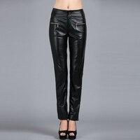 26 32! Новая Европейская Женская мода натуральная кожа овчины Кожа Штаны брюки Slim женские большие размеры ноги брюки