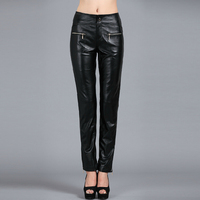 26 32 ! European new women's fashion genuine leather sheepskin leather pants trousers Slim female plus size feet trousers
