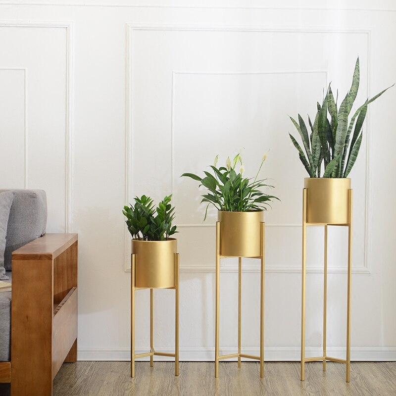 Suporte de rack de ferro de ouro vaso de flor suculenta erva pote metal plantador - 4