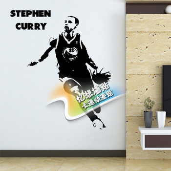 Free shipping diy vinyl basketball wall stickersThe golden state warriors star Stephen curry wallpaper  children room wall decor 1