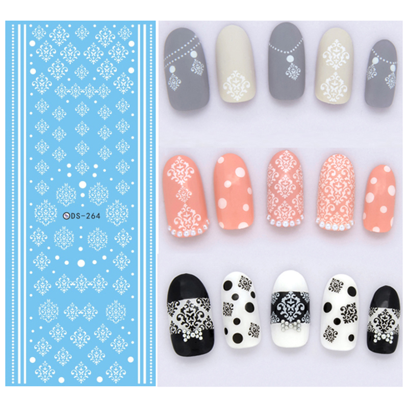 3Pcs Winter Style White Snowflake Nails Art Sticker Water Transfer ...