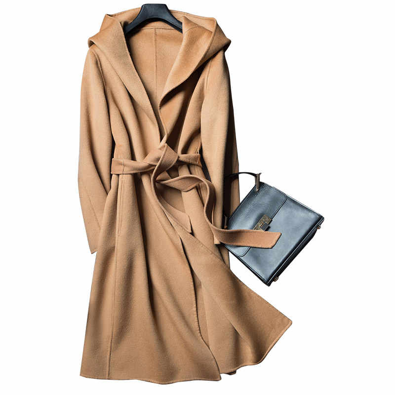 Cashmere Women long coat long sleeve wool loose coat outwear women winter autumn trench coats big size