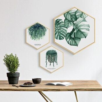 Nordic styl zielony roślin duże liście kaktus obraz na płótnie z łbem sześciokątnym plakat i druku wystrój domu ściany obraz do salonu