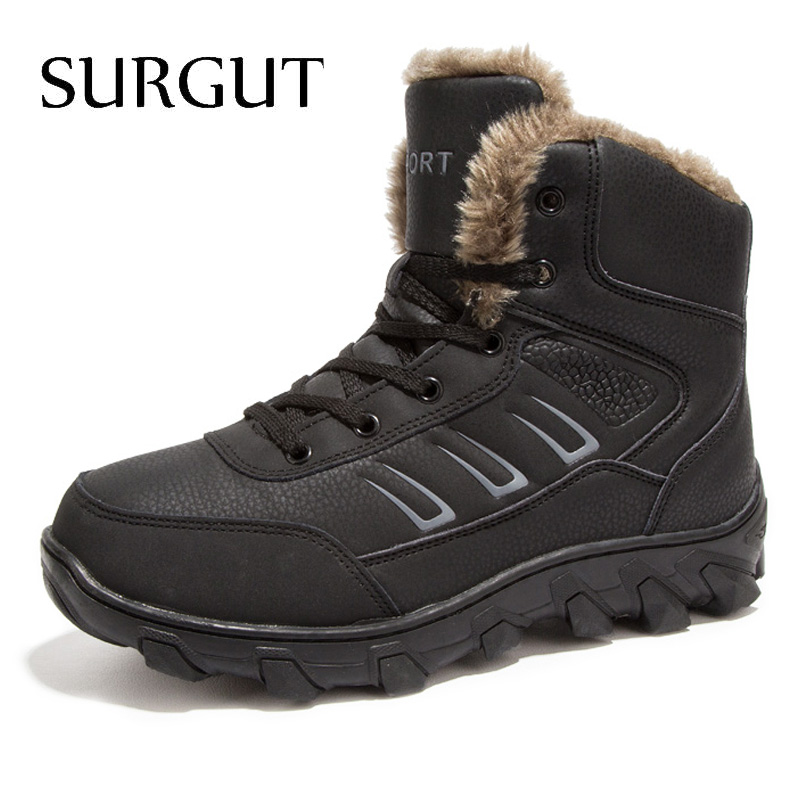 купить SURGUT Brand Men Boots 2018 New Fashion Suede Leather Boots Men Casual Boots For Spring Winter Keep Warm Lace Up Snow Boots Men онлайн