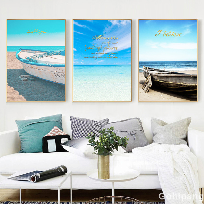 Seaside Home Decor Seascape Wall Art Print Nordic Canvas Painting Bedroom Living Room Picture Landscape Boat Decorative Painting