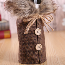 Merry Christmas Red Wine Bottle Cover Bar Xmas Button Plain Clothes Wine Gift Bottle Bag Decoration Dinner Table Decor For Home