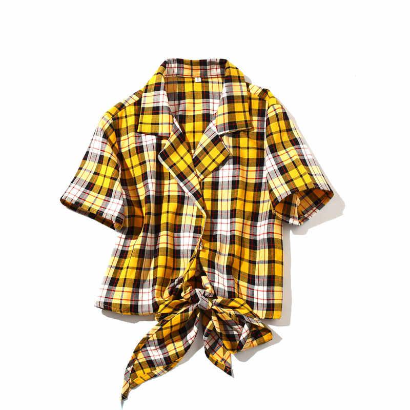 Bella hadid Sommer 2018 Neue straße gelb plaid Kurzen Gestellte Top omighty t shirt femme sexy Bogen Tops t shirt für frauen