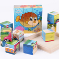 1set Wooden Painted Nine Puzzles Six-sided Three-Dimensional Jigsaw Educational Toys for Children Baby Kids Funny Game Gifts