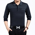 Clássico Mens Polo Camisa Listrada Manga Comprida Misturas De Lã Malha Pulôver Masculino Roupas de Marca Dos Homens de Negócios Slim Fit Camisas Pólo