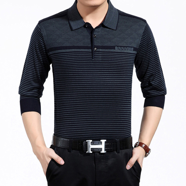 Classic Mens Polo Shirt Striped Long Sleeve Wool Blends Knitted Pullover Male Brand Clothing Men Business Slim Fit Polo Shirts