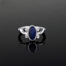 MQCHUN Fashion Movies Jewelry The Vampire Diaries Ring Elena Gilbert Daylight Rings Vintage Crystal Ring Blue Lapis Cosplay Gift