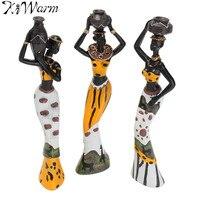 KiWarm 3Pcs Retro African Lady With Vase Ornament Ethnic Statue Sculptures National Culture Figurine Home Decor