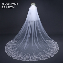 Wedding Accessories 2017 White Bridal Veil Lace Edge wedding veil 2017 Sexy wedding veil with comb Casamento cathedral veil(China)