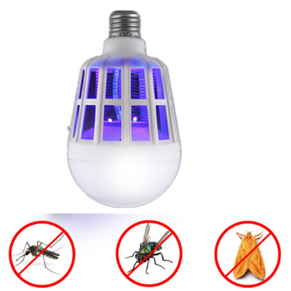 2 In 1 15W LED Bulb Mosquito Killer Lamp 220-240V Electric Trap Mosquito Killer Light For Outdoor Camping Night Sleepping Lamps