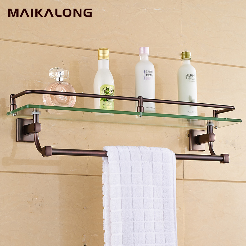 Bathroom Glass Shelf Wall Mount With Towel Bar And Rail