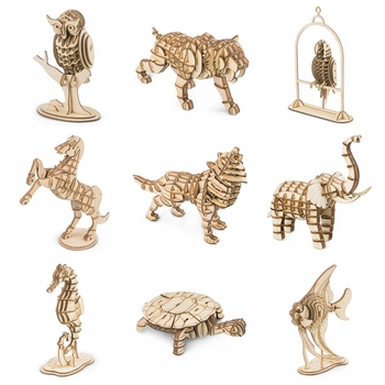 Rolife 20 Types Home Decor Figurine Laster Cutting DIY Crafts Wooden Miniature Animal Model Car Ornament for Gift for Kids TG