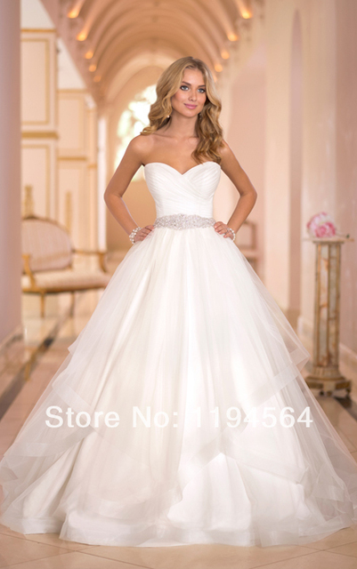 Fashion 2014 Sashes and Beaded White/Ivory Organza Wedding Dresses ...