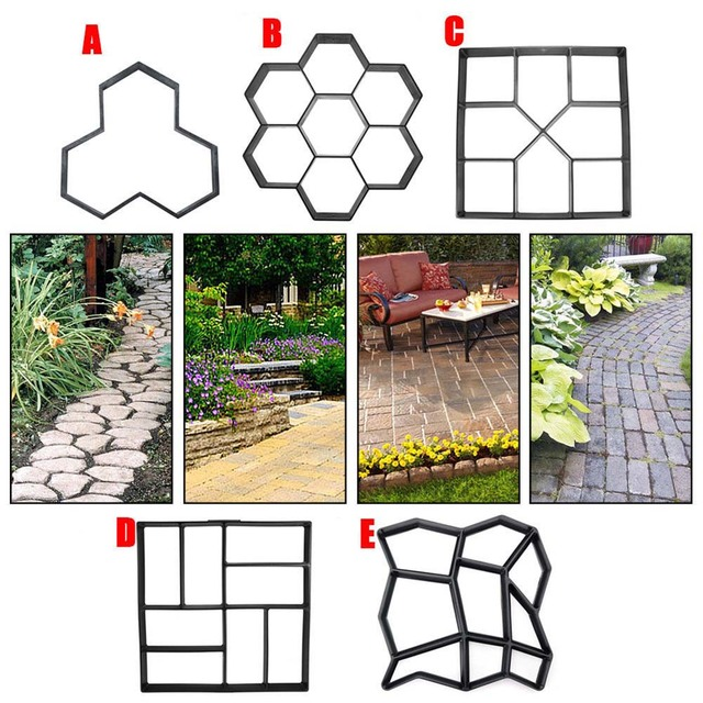 Garden DIY Plastic Path Maker Pavement Mold Concrete Stepping Stone Cement Paving Cement Molds Stone Road Concrete Molds Tool