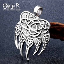 Beier stainless steel Amulet Viking Slavic God Symbol Warding Veles Bear Paw with lucky knot Pendant Necklace Jewelry LLBP8-291R