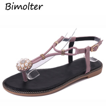 Bimolter 2018 Summer Women Sandals Sweet Crystal Pearl Comfortable Flat Sandals Fashion Beatch Diamond Sandals Flip-Flop PSEA026 hot women sandals 2018 flip flop mid calf flat heels sandals women fashion crystal rhinestone backle strap wedding sandals