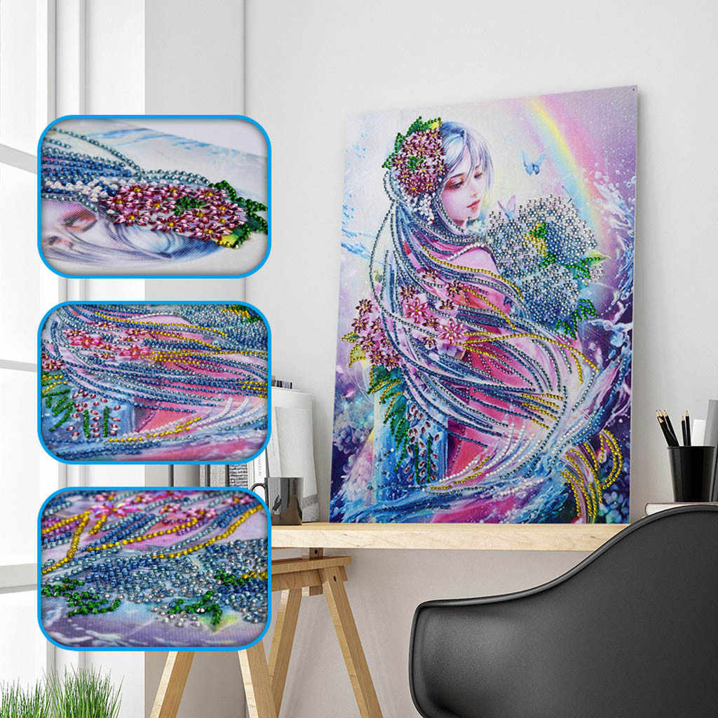 Efaster DIY 5D Crystal Embroidery Full Diamond Piture Rhinestones by Number Kits Special Shaped Diamond Painting A