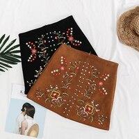 Hot Sale New Autumn Women Fashion Rivet Suede Skirt Female Flower Embroidery High Waist Skirts Girls