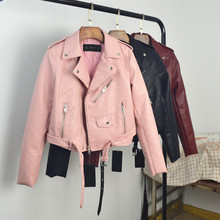2018 Spring Autumn Women Faux Soft Leather Jacket Long Sleeve Pink Biker Coat Zipper Design Motorcycle PU Red Jacket