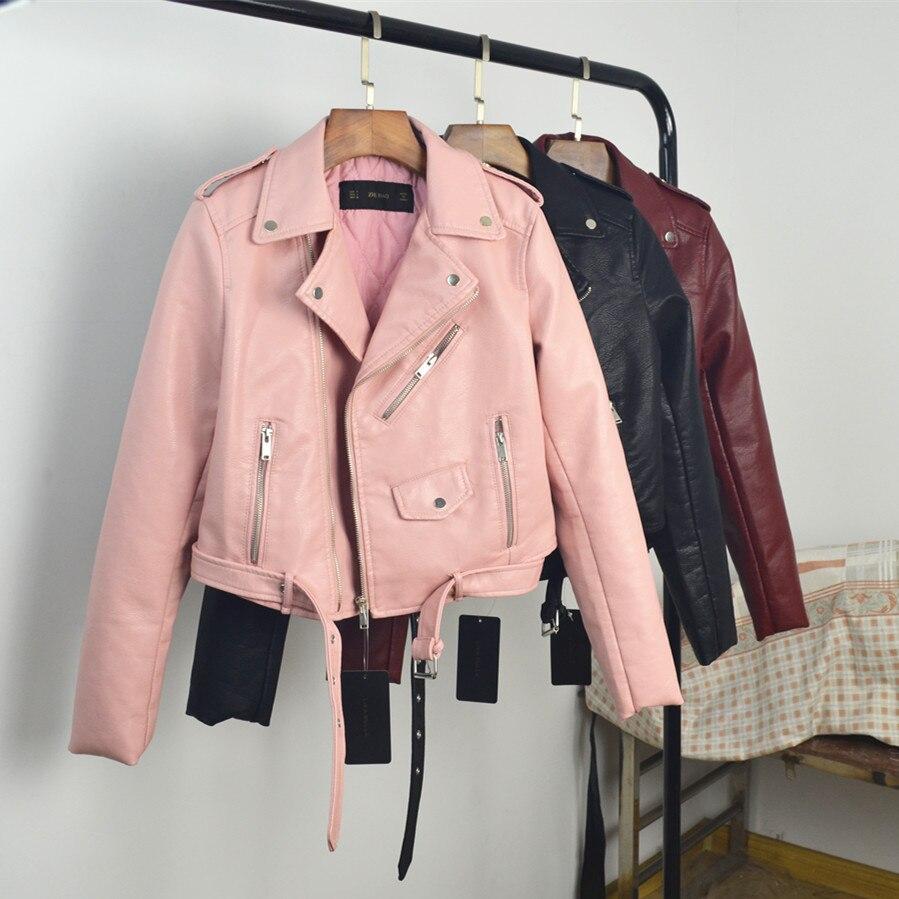 Femmes Rose pink Fitaylor Red blue Zipper Longues Automne Souple Manches Veste yellow Manteau Printemps À Black Rouge Faux Cuir 2019 Biker Pu Conception Moto wine BBnqWPxtw